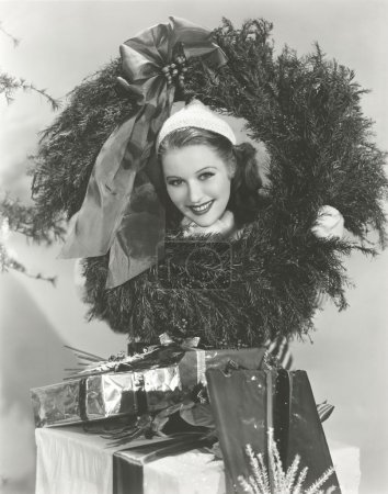woman Getting into the Christmas spirit