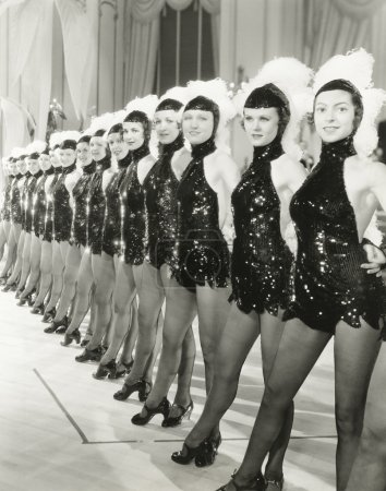A row of chorus girls
