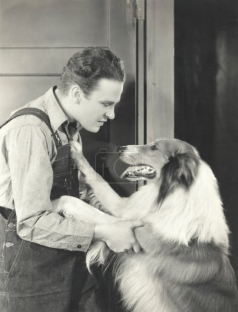young Man and his collie