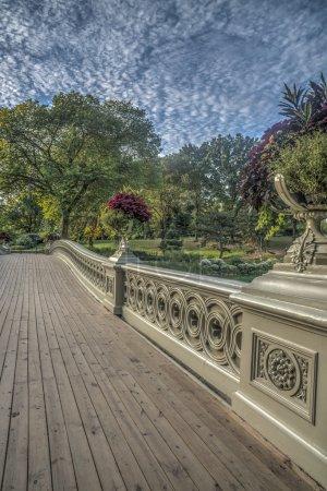 Foto de El puente de arco es un puente de hierro situado en Central Park, Nueva York, cruzando el lago - Imagen libre de derechos