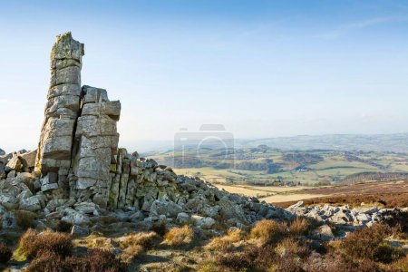 Photo for Manstone Rock, a quartzite rock formation on the summit of Stiperstones in The Shropshire Hills Area Of Outstanding Natural Beauty, Shropshire, UK - Royalty Free Image