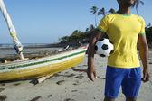 Brazilian Football Player Holding Soccer Ball Nordeste Beach