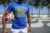 International Football Player with Soccer Ball Copacabana Rio