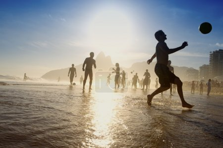Silhouettes Brazilians Playing Altinho Beach Football Rio