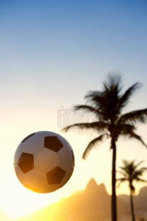 Football Soccer Ball Sunset Rio de Janeiro Skyline