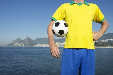 Brazilian Football Player in Team Brazil Kit Rio