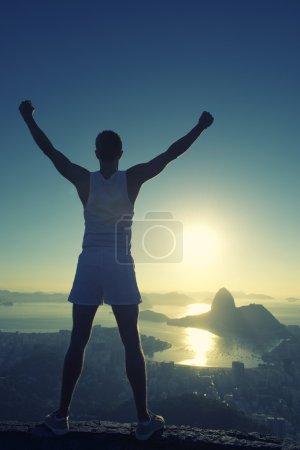 Athlete Standing Arms Raised Rio de Janeiro Sunrise