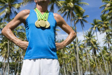 Gold Medal Athlete Standing with Palm Trees Brazil