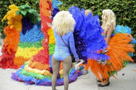 Drag Queens in Rainbow Dresses Gay Pride Parade