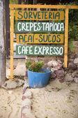 Handwritten Sign Advertising Brazilian Snacks Food