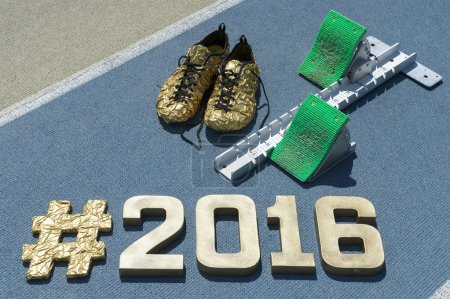Starting Blocks Hashtag 2016 with Gold Shoes