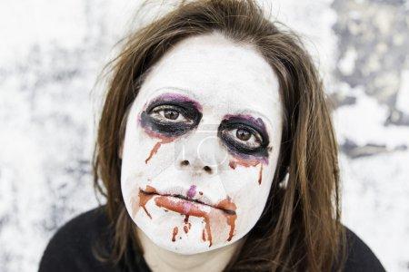 Girl bloody and sad