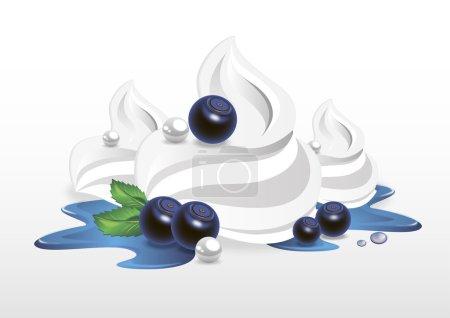 Illustration pour Crème fouettée aux myrtilles - image libre de droit