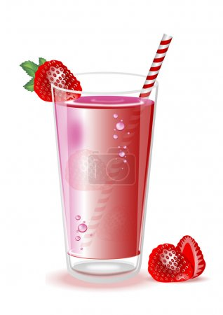 strawberry milkshake in a tall glass on a white background