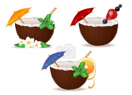 set of tropical coconut cocktail on white background