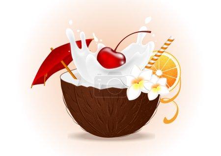 Illustration pour Cocktail de noix de coco tropicale avec cerise et orange - image libre de droit