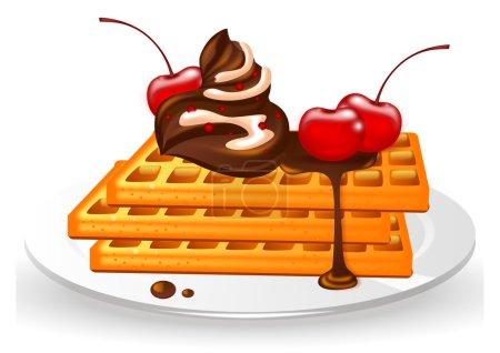 Illustration pour Gaufres à la crème au chocolat et cerises sur plaque sur fond blanc - image libre de droit