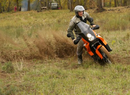 Buzuluk, Russia - September 25, 2010: riding the motorcycle in t
