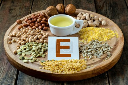 Foods containing vitamin E: oil, peas, lentils, co...