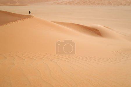 Lonely traveller in desert