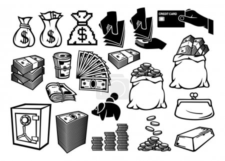 Illustration pour Icônes d'argent ensemble - image libre de droit