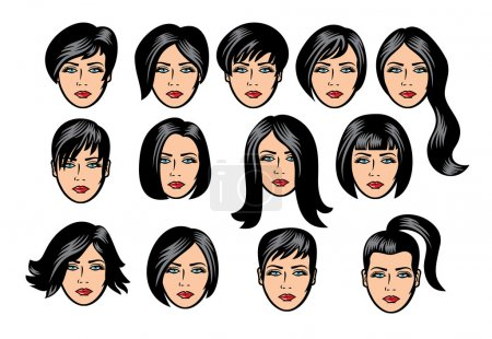 Set of black hair styling for woman