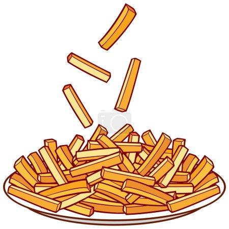Illustration pour Frites dans une assiette sur fond blanc - image libre de droit