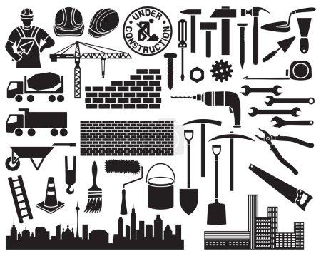 Illustration pour Ensemble d'icônes de construction (brouette, marteaux, clous, maçon de construction avec brique et truelle, pelles, cône de circulation, chapeaux durs, grues, silhouette de la ville, mur de briques ) - image libre de droit