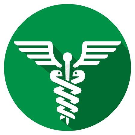 Illustration for Caduceus medical symbol flat icon (symbol of pharmacy icon) - Royalty Free Image