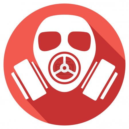Illustration for Gas mask flat icon (gas mask warning sign, army gas mask icon, protective gas mask button, gas mask danger sign) - Royalty Free Image