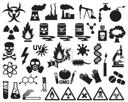 Illustration for Hazard, pollution and danger icons set (barrels with nuclear waste, gas mask, nuclear power station, cigarette, DNA, dynamite, explosion, factory, gas, biohazard, gas mask, radiation sign, pipeline) - Royalty Free Image