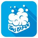 Wet soap with foam flat icon...