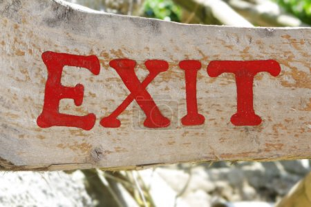 outdoor exit sign on wood, natural background