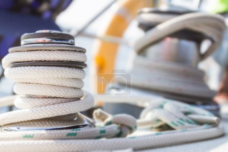 winch with rope on sea yacht deck