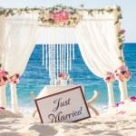 Beach wedding set up, tropical outdoor wedding rec...