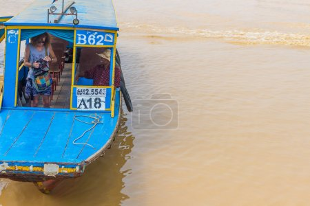 Kampong, Siem Reap, Cambodia February, 27 2015: Undefined touris