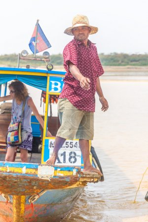 Kampong, Siem Reap, Cambodia February, 27 2015: Undefined boatma