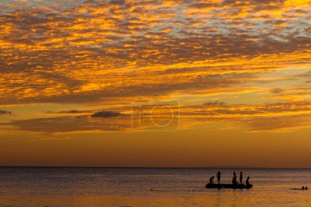 beautiful sunset sea and sky in tropics, summer vacations