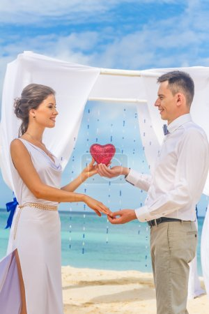 bride and groom on their wedding day on natural tropical beach b