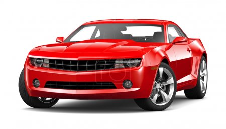 Red muscle car on a white background