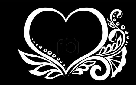 beautiful monochrome black and white silhouette of the heart of lace flowers, tendrils and leaves isolated.