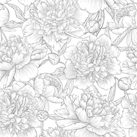 Illustration for Beautiful monochrome black and white seamless background. peonies with leaves and bud. for greeting cards and invitations of wedding, birthday, Valentine's Day, mother's day and other seasonal holiday - Royalty Free Image