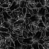 seamless background with black and white lily and roses