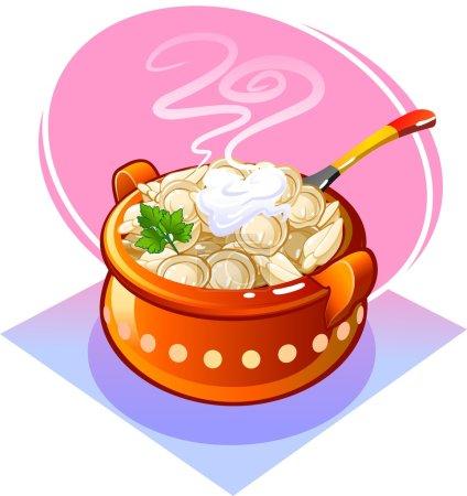 Illustration pour Boulettes dans une casserole avec la crème sure. Vector - image libre de droit