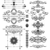 Vector set of black decorative horizontal floral elements corners borders frame Page decoration