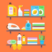 Household goods household products on shelves Flat vector illustration