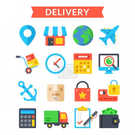 Delivery icons set. Shipping, delivery, logistics, warehouse, goods tracking. Flat vector icons set