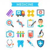 Medical icons set Medicine treatment science healthcare diagnostics Flat vector icons set