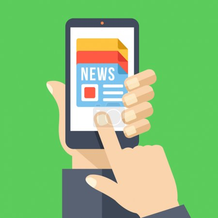 Illustration for News app on smartphone screen. Electronic mass media. Hand holding smartphone, finger touch screen. Modern concept for web banners, web sites, infographics. Creative flat design vector illustration - Royalty Free Image