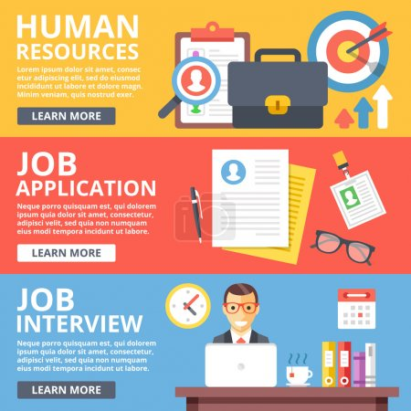 Illustration for Human resources, job application, job interview flat illustration set. Creative flat design elements and concepts for web sites, web banner, printed materials, infographics. Modern vector illustration - Royalty Free Image